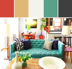 Turquoise Tufted Sofa Designed By Lisa Perrone | Stylyze Creative Director via Stylyze
