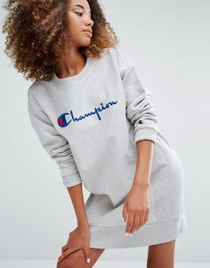 Image 1 of Champion Oversized Sweat Dress With Script Logo