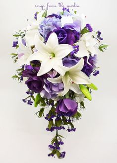 Cascade Bridal Bouquet with Real Touch Purple Roses, Real Touch Lilies, Silk Lavender Hydrangea