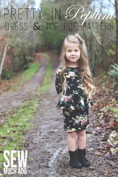 Girl's Peplum Dress and Top Pattern - such a cute and easy sew! Pretty in Peplum