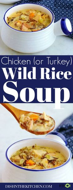 This Creamy Wild Rice Soup is a warm, comforting creamy homemade soup made with leftover turkey or chicken, vegetables, and cooked wild rice. #soup #wildricesoup #turkeyleftovers #chickenleftovers #chickensoup #turkeysoup Turkey Wild Rice Soup, Chicken Wild Rice Soup, Creamy Chicken, Best Chicken Recipes, Healthy Chicken Recipes, Cooking Recipes, Delicious Recipes, Cooking Wild Rice, Soup Dish