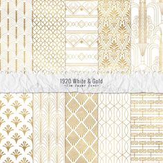 1920 White and Gold Seamless Art Deco Digital Scrapbook Papers - 10 Jazz Age Great Gatsby Inspired Patterns - JPG - Instant Download by ThePaperTown on Etsy https://www.etsy.com/listing/264055461/1920-white-and-gold-seamless-art-deco