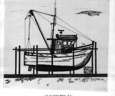 Île de Grand-Manan_Petit bâteau passeur _725_ _encre sur papier_19... Utility Pole, Painting, Ink, Paper, Travel, Painting Art, Paintings, Drawings