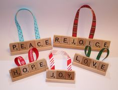 Set of 5 Christmas Ornaments, Hope Ornament, Love Christmas Ornament, Joy, Peace Ornament, Scrabble, Christmas, Peace, Joy, Love, Rejoice