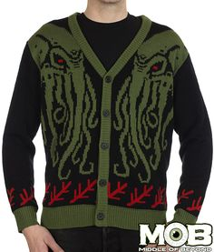 Call upon the dark Lord Cthulhu for the end times. Now in a cardigan! Black, red, olive green and medium green in color. It is decorated with two Cthulhu heads on the front, and the two different elder signs. The back has one large Cthulhu.