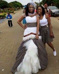 Modern Traditional Shweshwe Outfits for Wedding - isishweshwe South African Wedding Dress, African Wedding Theme, African Traditional Wedding Dress, Traditional African Clothing, African Wedding Attire, African Attire, African Weddings, Sotho Traditional Dresses, African Print Fashion