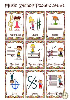Looking for beautiful music decor for your music classroom? This music poster set is for you! These music symbols posters are perfect for your music room and are also great teaching tools for your students. Music Lessons For Kids, Music Lesson Plans, Singing Lessons, Music For Kids, Piano Lessons, Learn Singing, Piano Teaching, Teaching Tools, Learning Piano