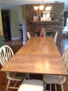 diy farmhouse style kitchen table with extensions made with ambrosia maple wood - Maple Kitchen Table