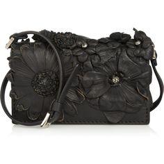 c7d0220a27df Valentino Floral-appliquéd leather mini shoulder bag ( 885) found on  Polyvore Discount Designer
