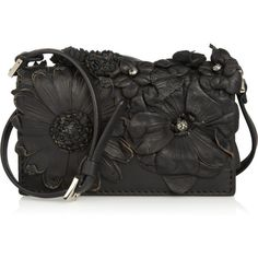 Valentino Floral-appliquéd leather mini shoulder bag ($860) ❤ liked on Polyvore
