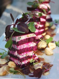 Red Beet & Goat Cheese Napoleons with Hazelnuts