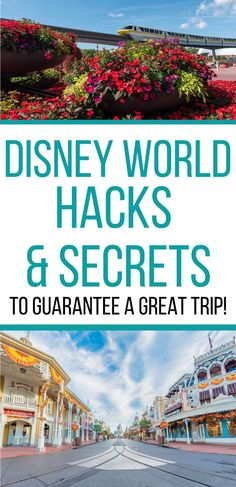Walt Disney World vacation planning tips & tricks -- Planning a Disney trip for your family? Learn these hacks and secrets that will help you save money and time. Pictures are of Epcot monorail during Flower & Garden Festival and Main Street USA in Magic Kingdom