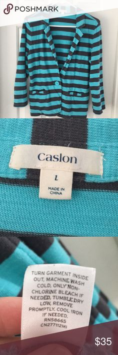 Casual blazer Turquoise and dark grey casual blazer (sweatshirt material) adorable with jeans and tank top.  Originally purchased from Nordstrom only worn a few times.  Great condition Caslon Jackets & Coats Blazers