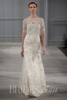 """Brides.com: Monique Lhuillier - Spring 2014. """"Darcelle"""" ivory embroidered tulle strapless trumpet gown and ivory embroidered tulle bolero, Monique Lhuillier"""