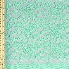 Green Mint Scalloped Lace Fabric by the Yard Wedding Bridal Craft Lace Material Cotton Green Mint Lace Fabrics - 1 Yard Style 312