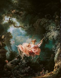 """The Swing"" 1767 Jean-Honore Fragonard. Rococo. The underlying themes in this have always struck me as amusing. Dinosaur Art, November 2015, Painting, Twitter"
