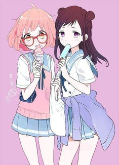 Kyoukai no Kanata \\ 境界の彼方 \\ Beyond the Boundary \\ Beyond the Horizon Yuri Manga, Yuri Anime, Friend Anime, Anime Best Friends, Kawaii Anime Girl, Anime Art Girl, Anime Girls, Kyoani Anime, Bff