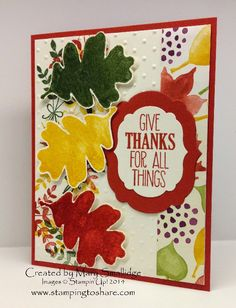 Stamping to Share Demo Swap Cards Part Two, Stampin' Up!, Mary Smallidge, Color Me Autumn Designer Series Paper, For All Things, Fall Card