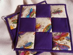 Quilted Potholders Butterflys and Purple  Set by KraftyGrannysHome, $14.00