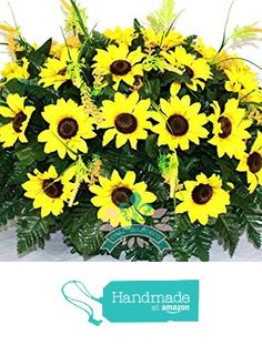 Beautiful XL Fall Sunflowers Cemetery Tombstone Headstone Saddle from Crazyboutdeco Deco Mesh Wreaths and Cemetery Arrangements https://www.amazon.com/dp/B01LXZ4AGV/ref=hnd_sw_r_pi_dp_tj0gybWZ6Y7KG #handmadeatamazon