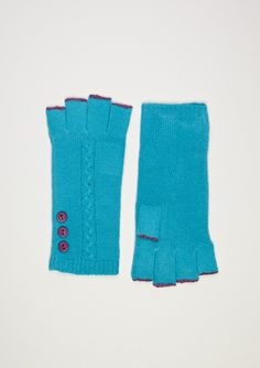 Sayami's 100% Cashmere Fingerless Gloves in Teal/Purple...I WANT!