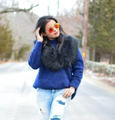 LovePlayingDressup-AYRSweater-DistressedDenim-StreetStyle, oxfords,  tan accessories, petite blogger, petite fashion, fur wrap, ootd, blue and orange, fashion shoot, photo shoot, AYR, destroyed jeans, american eagle