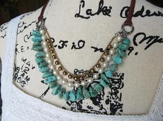 Necklace Women's Multi Strand Adjustable Turquoise Vintage