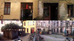 HINTERHOF –Beide Bilder sind mit der App Photosynth  auf einem iPhone 4 im Berliner Bezirk Prenzlauer Berg aufgenommen worden. Neue Fassaden sind nicht immer schöner, jedoch meistens sicherer als die allmählich abbröckelnden, alten Hauswände.