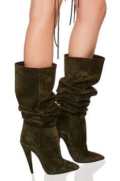 Saint Laurent Era Suede Heeled Thigh High Boots