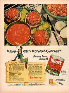 1953 Hunt's Tomato Sauce Magazine Original Food and Drink Print Ad