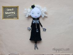 Art Doll Brooch Little Girl mixed media collage  $27