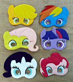 Add these adorable My Little Pony Inspired Felt Masks to a party. The felt masks are machine embroidered using wool blend felt. Anniversaire My Little Pony, My Little Pony Birthday Party, Felt Mask, Animal Masks, Felt Patterns, Felt Toys, Diy Mask, Halloween Masks, Mask For Kids