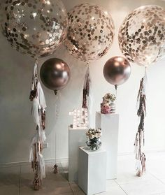 A copper theme for a special birthday with our rose gold balloons. Plinths… - How To Make Crazy PARTY 30th Birthday Parties, 16th Birthday, Birthday Party Decorations, Wedding Decorations, Cake Birthday, Diy Birthday, 21st Party, Decor Wedding, Party Party