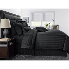 Indulge in a silky-smooth night's sleep with the soft and luxurious Wamsutta Damask Stripe Comforter Set. The PimaCott comforter features a classic damask stripe for the perfect complement to your bedroom style. Black And Grey Bedroom, Black Bedroom Design, Black Rooms, Black Beds, Black Bedroom Sets, King Duvet Cover Sets, Queen Comforter Sets, Bedding Sets, Black Comforter Sets