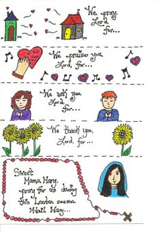 Instead of just writing down a petition for our Lenten prayer jar, I decided to draw the little petitions. Each strip has a picture and the . Christian Calendar, Christian Lent, Printable Prayers, Free Printable, Prayer Jar, Catholic Kids, Catholic Crafts, Lent Prayers, Teaching Religion