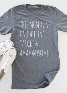 Women Summer This Mom Runs On Caffeine Target Short Sleeve T-Shirt Blouse Tops