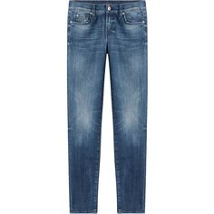 Seven for all Mankind Cropped Jeans (273 AUD) ❤ liked on Polyvore featuring jeans, blue, zipper denim jeans, shiny jeans, button-fly jeans, denim jeans and 5 pocket jeans
