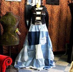 CUSTOM Deconstructed Reconstructed Denim Ball Skirt YOUR SIZE. $170.00, via Etsy.