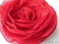 Wedding Hair Flower  Red Chiffon Flower Girl by RainwaterStudios, $12.00