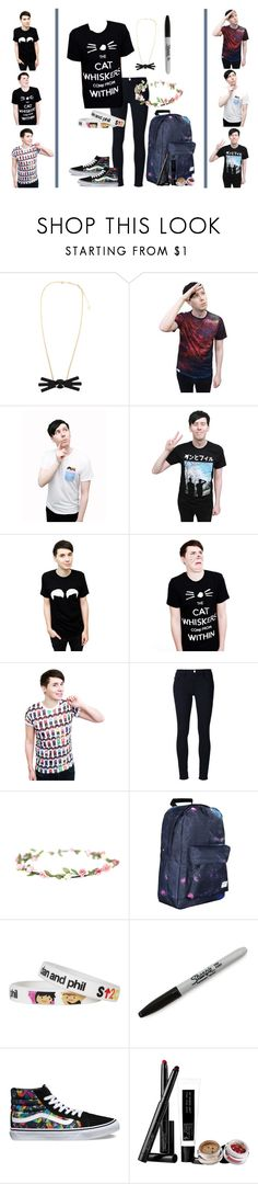 """""""The cat whiskers come from within"""" by blooky ❤ liked on Polyvore featuring Frame, Sharpie, Vans, Pat McGrath, danisnotonfire and amazingphil"""