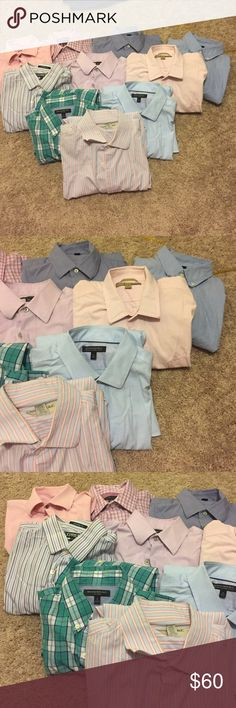 Men's long sleeve dress shirts Every shirt is a medium except the bottom one which is a large. Most shirts are banana republic and all are in good condition. $10 each or $60 for all Banana Republic Shirts Casual Button Down Shirts