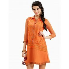 Salmon Colored Chicken Embroidery Kurti That You will love..