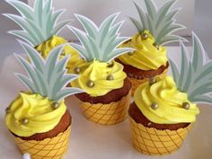 Pineapple cupcakes at a tropical flamingo birthday party! See more party ideas at CatchMyParty.com!