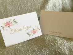 You cant go wrong with these simple and cute thank you cards! They can be used for all occasions and make great wedding thank you cards. You can also purchase them for the bride to be to use for her big day.  All thank you notes are printed onto 65lb white card stock with a handmade with love logo on the back. The font reads thank you with a watercolor floral design.  Cards measure 3.5 x 5 and come with coordinating envelopes packaged with ribbon.  I have the cards sold in sets of 6. If you…
