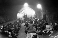 Londoners taking shelter in the Aldwych tube station during a German raid during the Battle of Britain, 1940