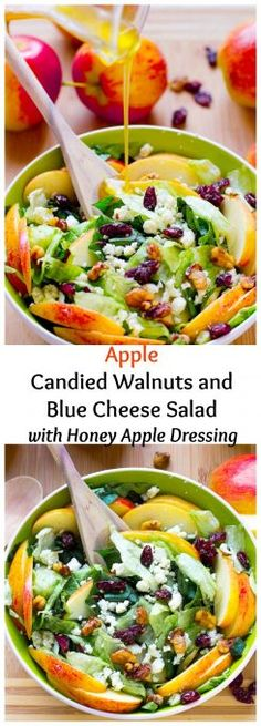 This Apple Candied Walnuts and Blue Cheese Salad with Honey Apple Dressing is filled with fall flavours, sweet and crunchy and healthy!