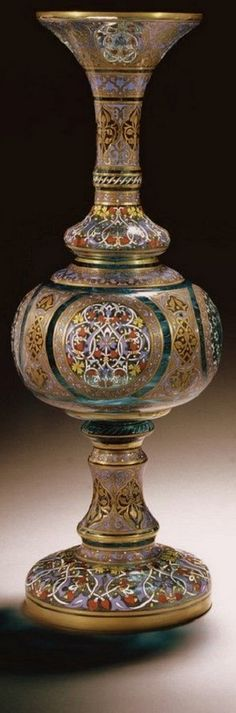 J.&L. Lobmeyr Islamic Style Enamel Decorated Glass Vase