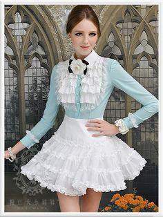Body multi-layered flounced lace long-sleeved shirt