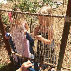The outdoor loom in action. The outdoor loom Outdoor Learning Spaces, Outdoor Play Areas, Outdoor Education, Outdoor Fun, Outdoor School, Outdoor Classroom, Forest School Activities, Summer Activities, Preschool Garden