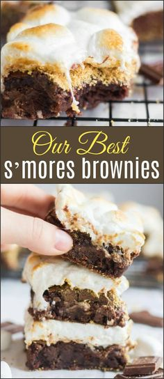 This is our BEST s'mores brownies recipe and you will not want to miss out on all the tips for chewy, fudgy brownies instead of cakey brownies! via @ohsweetbasil